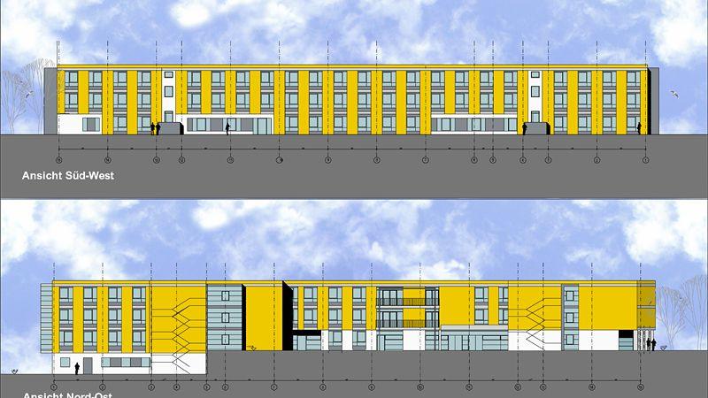 Entwurfsplanung für ein Altenpflegeheim in Magdeburg, an der Elbfähre